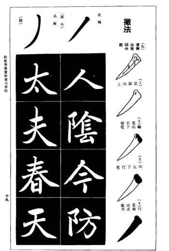 楷体,每张一个笔画,然后有对应该笔画的字体练习,8-12字,笔画有